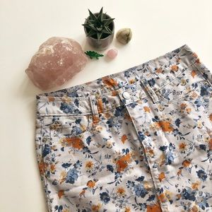 Floral Gap Denim Mini Skirt